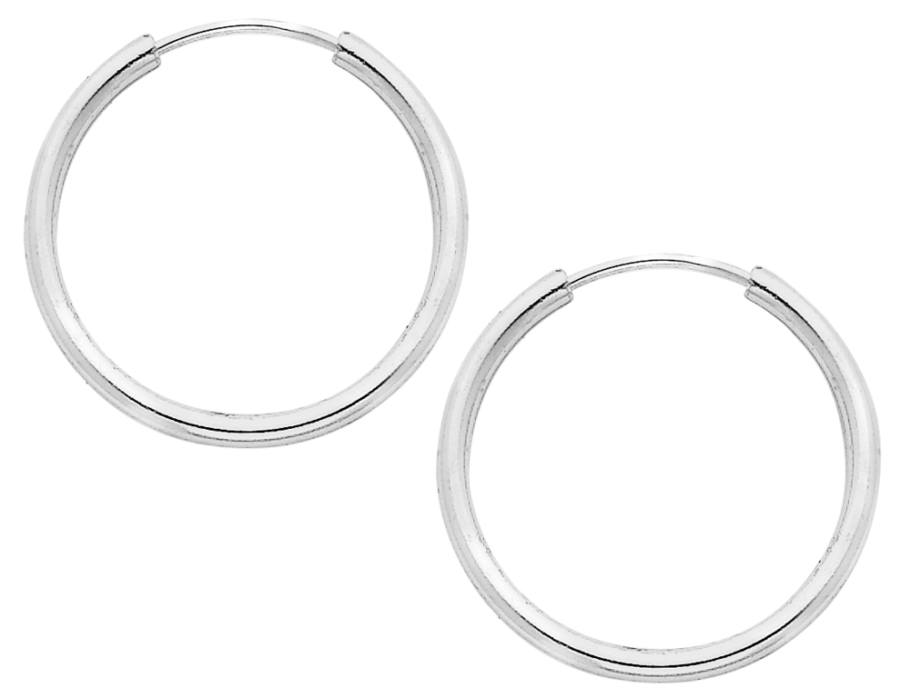 Affordable and fashionable medium hoop earrings (2.0mm) 1 inch in size, crafted in sleek (.925) sterling silver. Perfect for everyday wear.