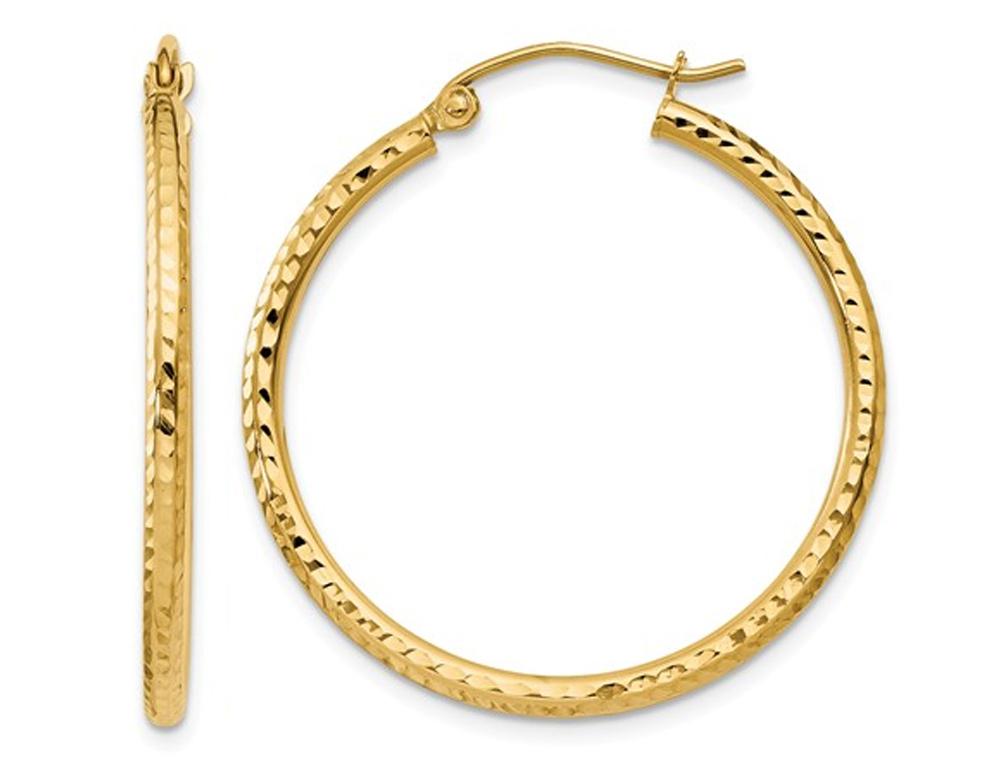 14K Yellow Gold Small Diamond Cut Hoop Earrings 1 Inch (2.00 mm)