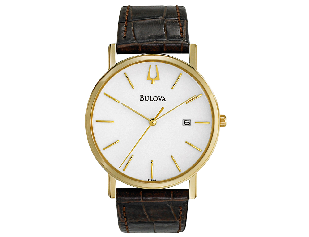 """Handsome and sophisticated, this mens Bulova """"Dress Duets"""" watch features a round stainless steel face in gold finish and classic analog display. Complete with textured brown leather strap, this versatile timepiece will add a smart finishing touch to any attire."""