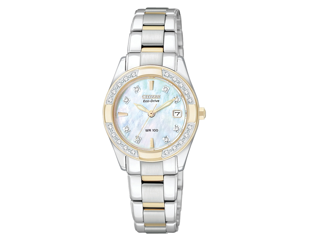 Womens Citizen Eco-Drive Regent Watch with Diamonds in Stainless Steel with Gold (EW1824-57D)