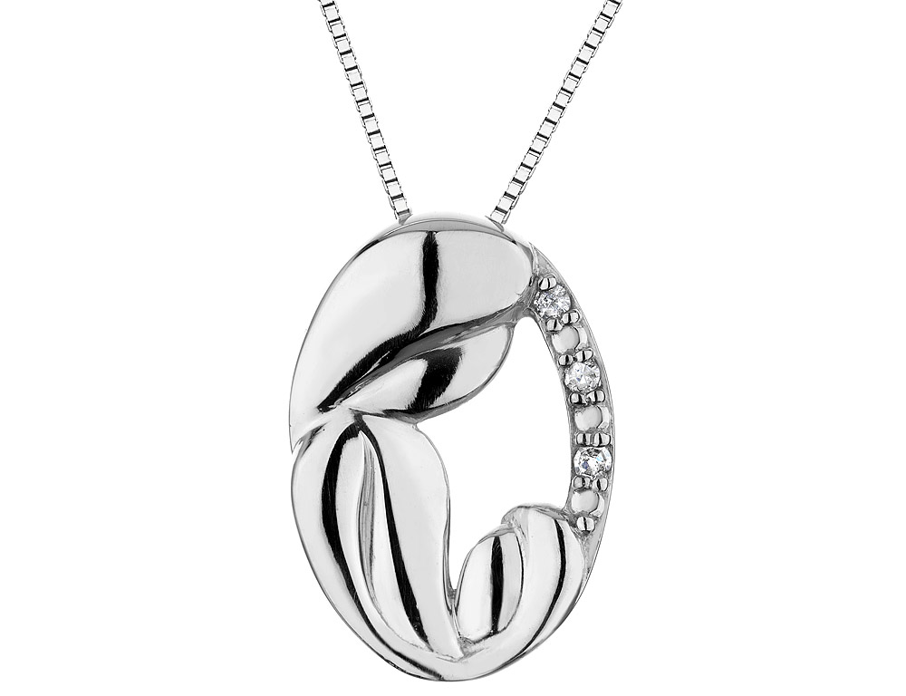 A Mothers Love Pendant Necklace with Diamonds in Sterling Silver with Chain