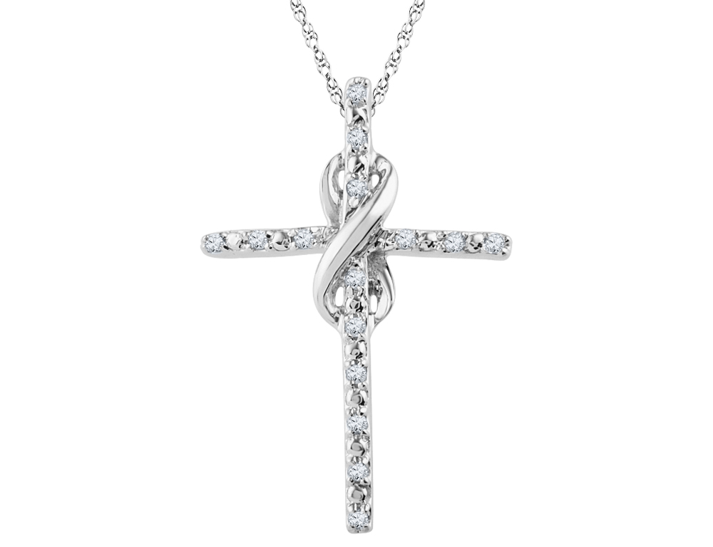 Infinite Faith Diamond Cross Pendant 1/10 Carat (ctw) in Sterling Silver with Chain
