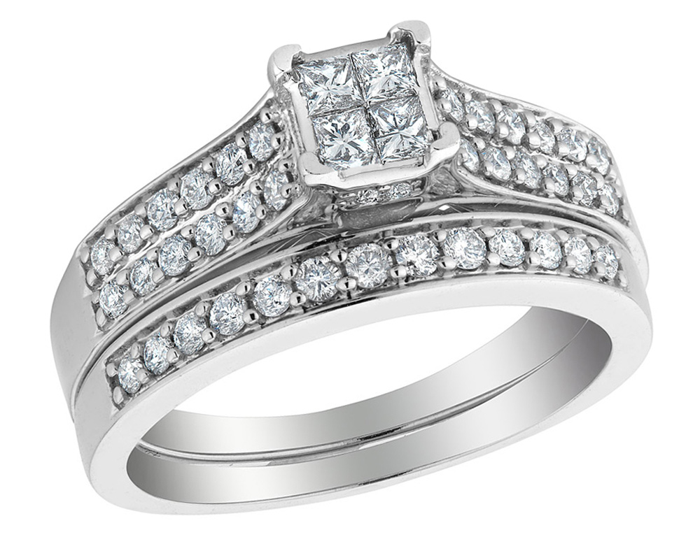 Four princess cut diamonds are invisibly set at the center of this diamond engagement ring and wedding band. Thirty brilliant round diamonds beautifully sparkle from within a 14 karat white gold foundation. This beautiful and unique diamond ring is just for you.