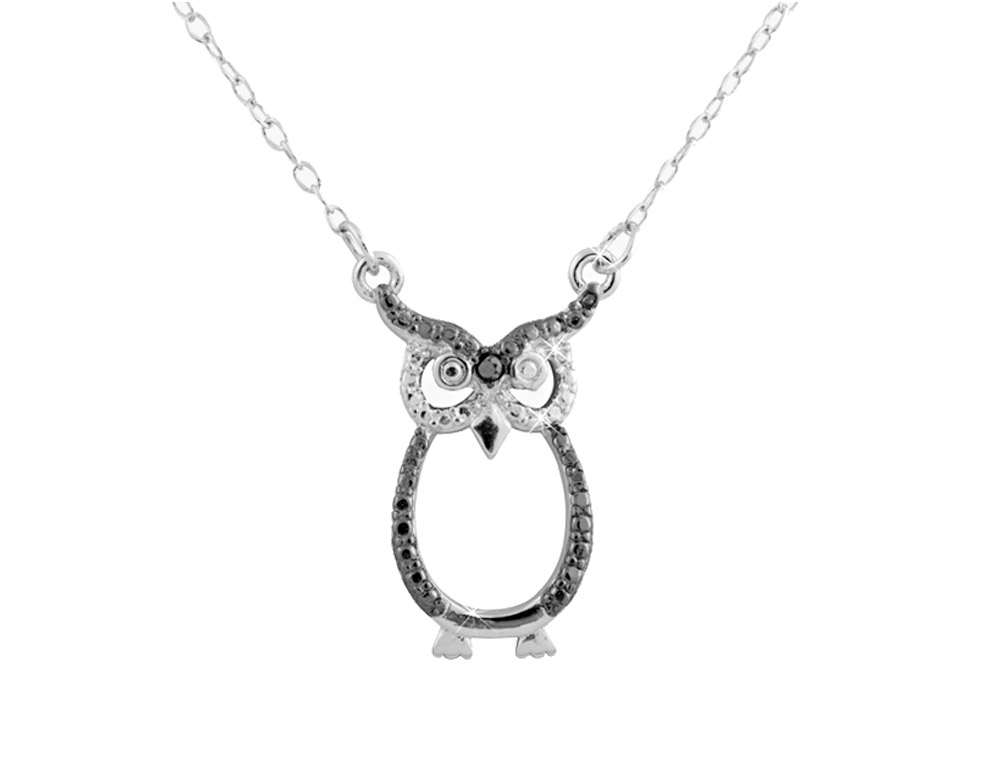 This lovely diamond accent necklace displays an adorable glimmering owl. Crafted in luminous sterling silver, this necklace is fun and fashionable.