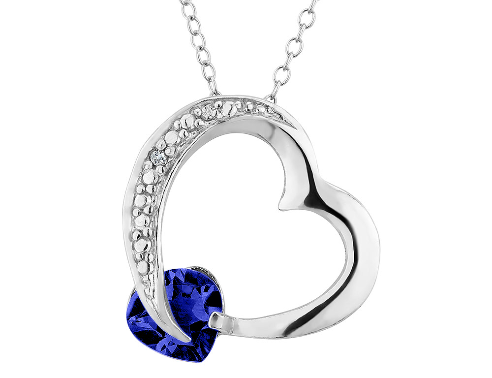 Created Blue Sapphire Heart Pendant Necklace with Diamond Accent 1.00 Carat (ctw) in Sterling Silver with Chain