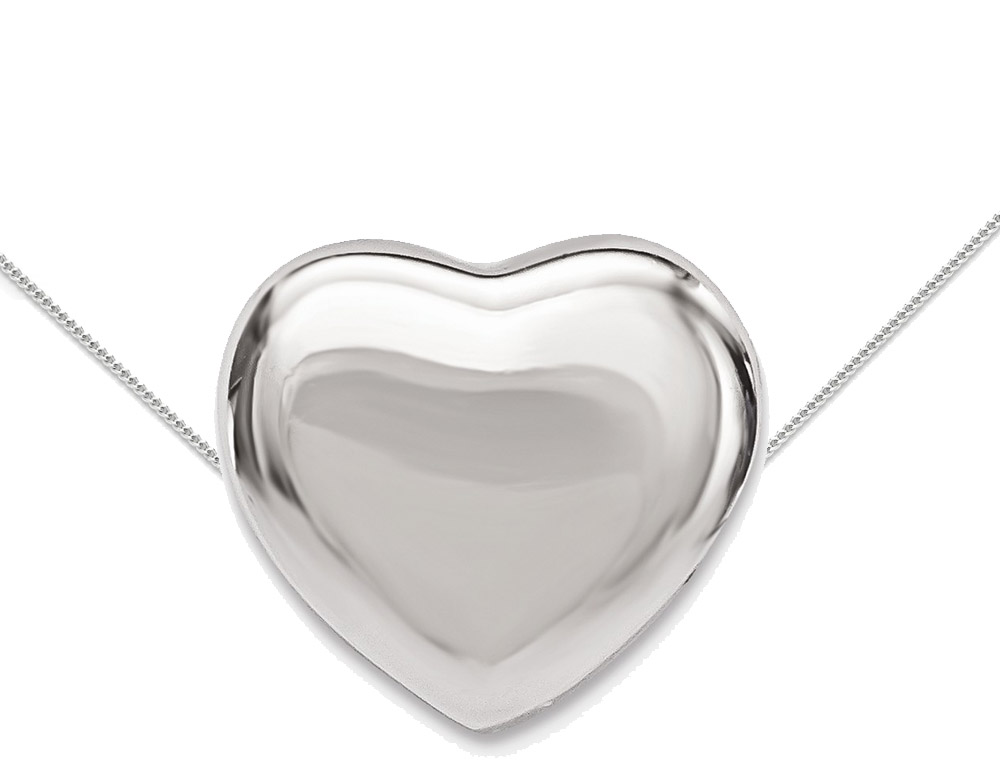 A classic heart charm necklace pendant crafted from sleek sterling silver, including a 17 inch sterling silver box chain.