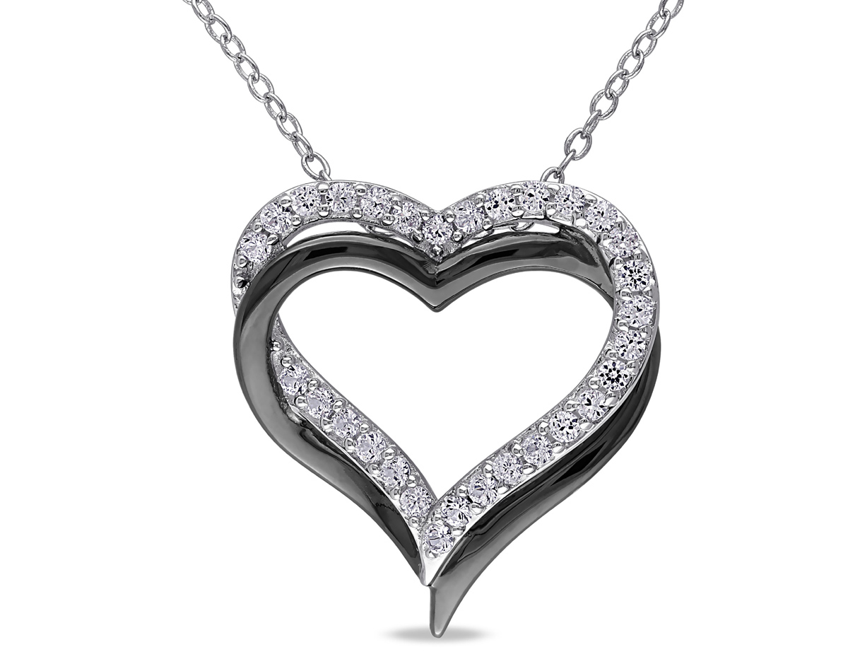 5/8 Carat (ctw) Lab Created White Sapphire Pendant Necklace in Black Rhodium Plated Sterling Silver With Chain
