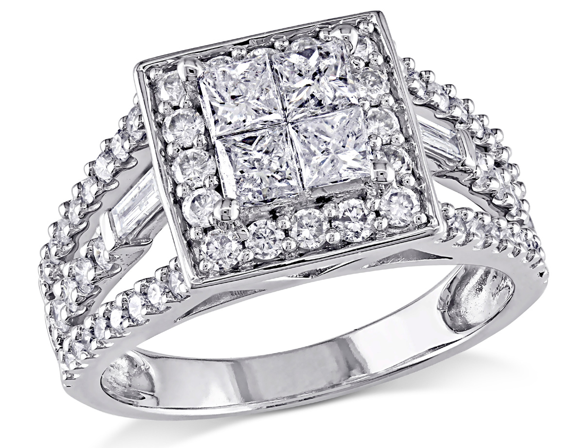 Before getting down on one knee, choose a stunning diamond that conveys your love like this princess diamond ring. Set in 14 karat white gold, this unique diamond ring features four brilliant princess-cut halo diamonds at the center. Sparkling round and baguette-cut diamonds frame the center setting and add dazzling shine to the white gold band.