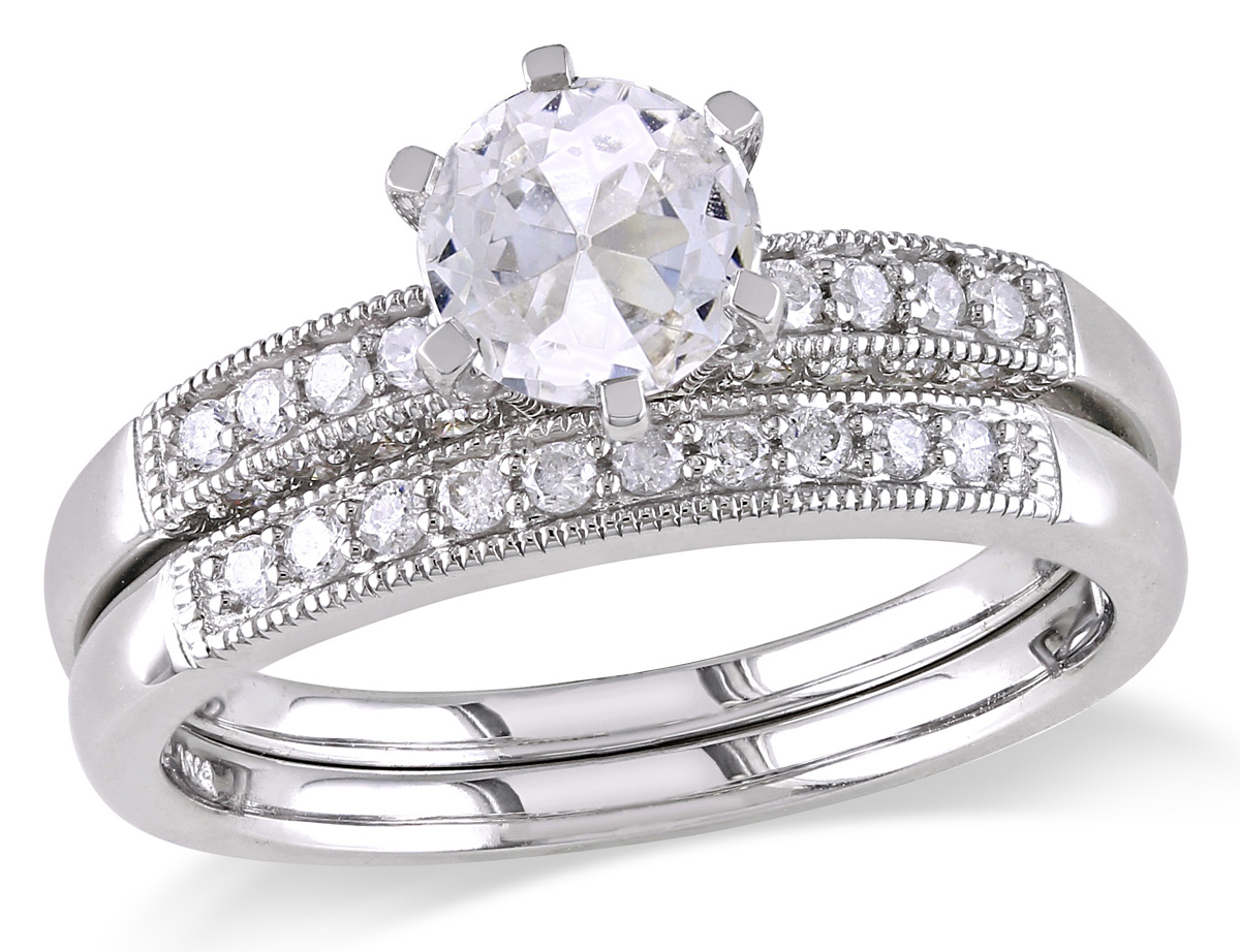 Created White Sapphire 1.0 Carat (ctw) with Diamond 1/3 Carat (ctw) Bridal Wedding Set Engagement Ring 10K White Gold