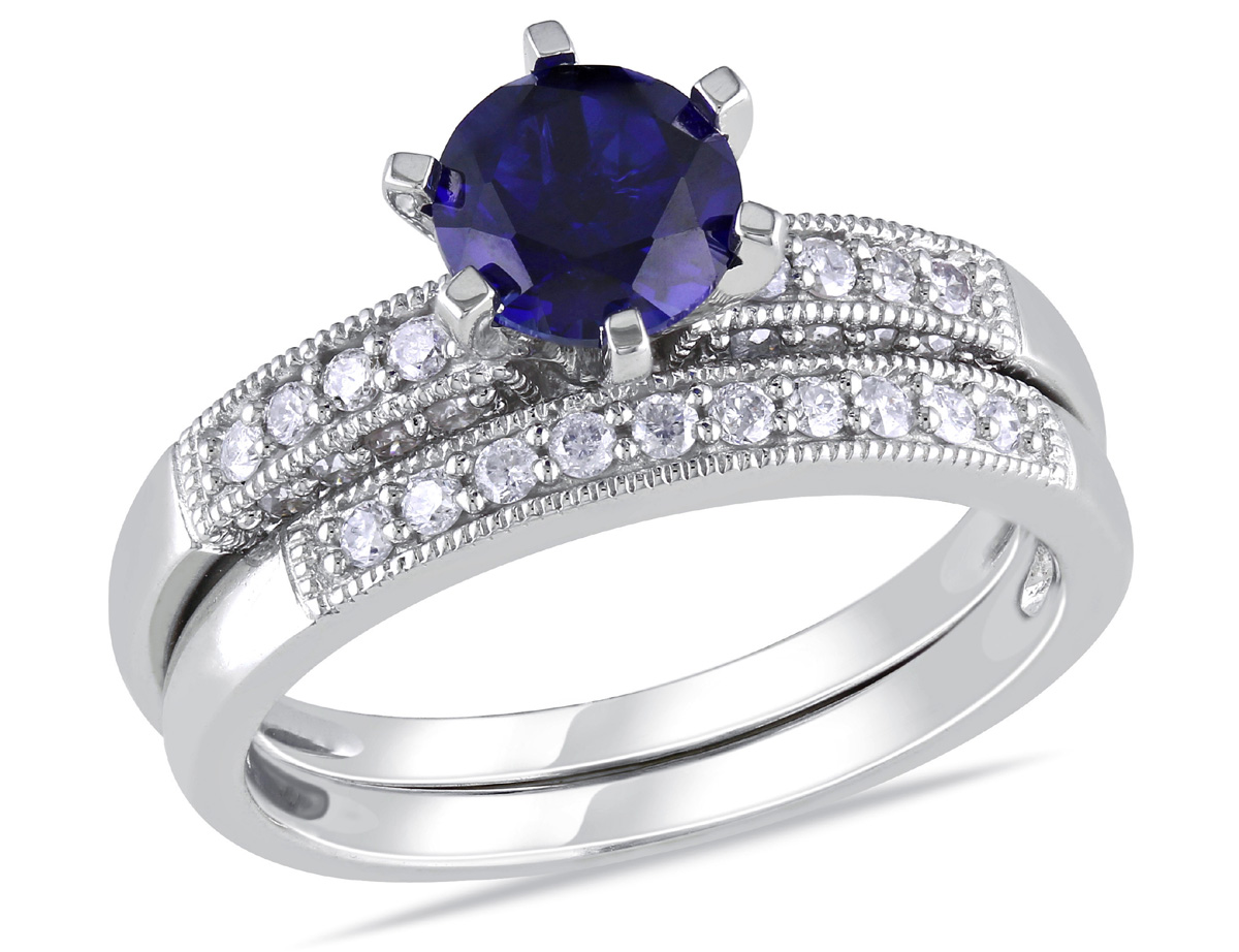 Created Blue Sapphire 1.0 Carat (ctw) with Diamond 1/3 Carat (ctw) Bridal Wedding Set Engagement Ring 10K White Gold
