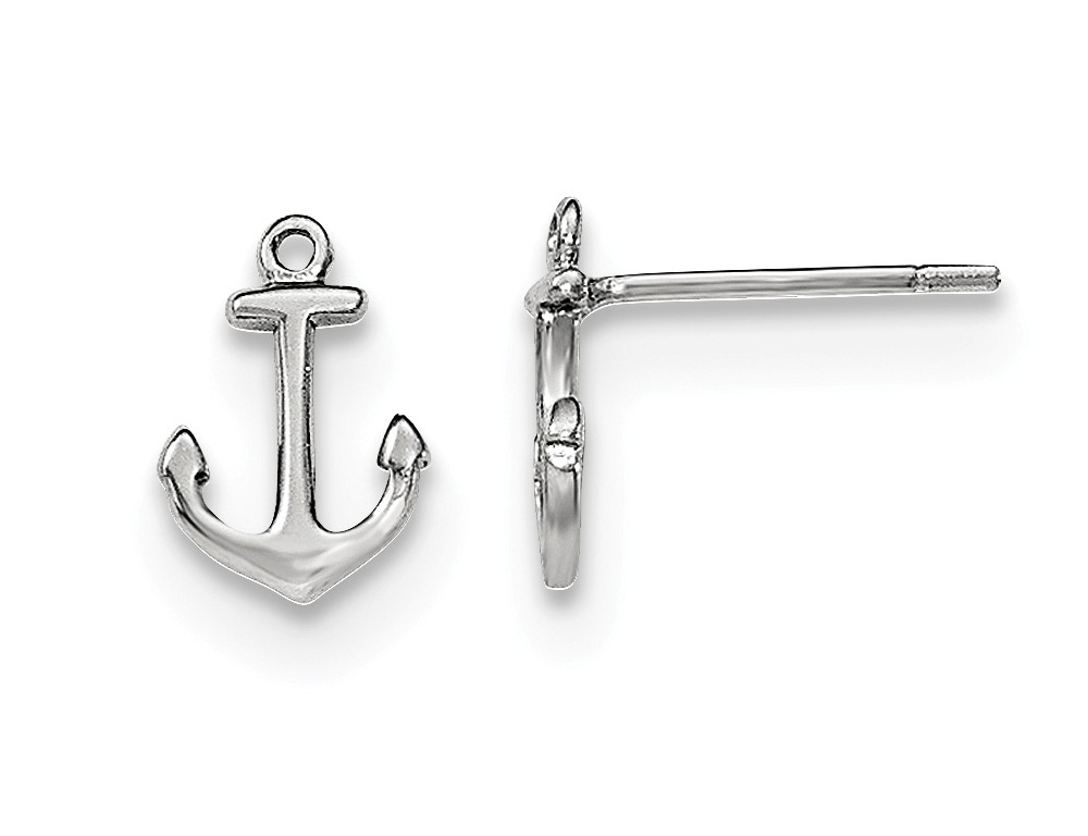 Sleek sterling silver is crafted into mini anchors in these dainty charm earrings with polished rhodium plating.