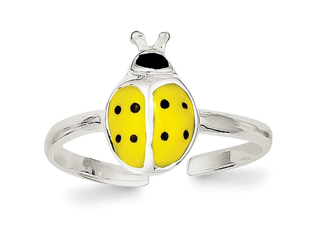 A yellow enameled lady bug is the feature of this toe ring which is both affordable, cute and stylish.