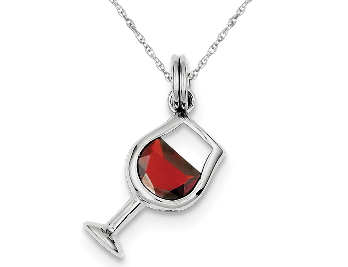 Synthetic Red Cubic Zirconia (CZ) Wine Glass Charm Pendant Necklace in Sterling Silver