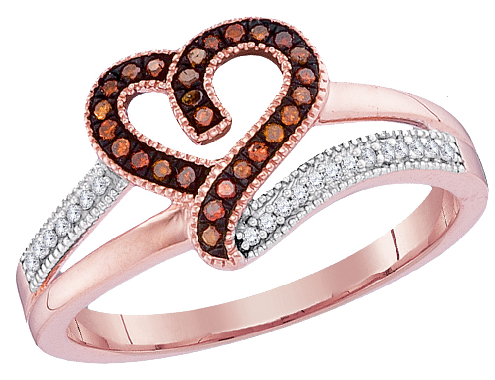 A sparkling enhanced red diamond pave setting heart is carefully crafted from crisp 10 karat rose pink gold and completed with 48 sparkling diamonds in this promise heart ring sure to please.