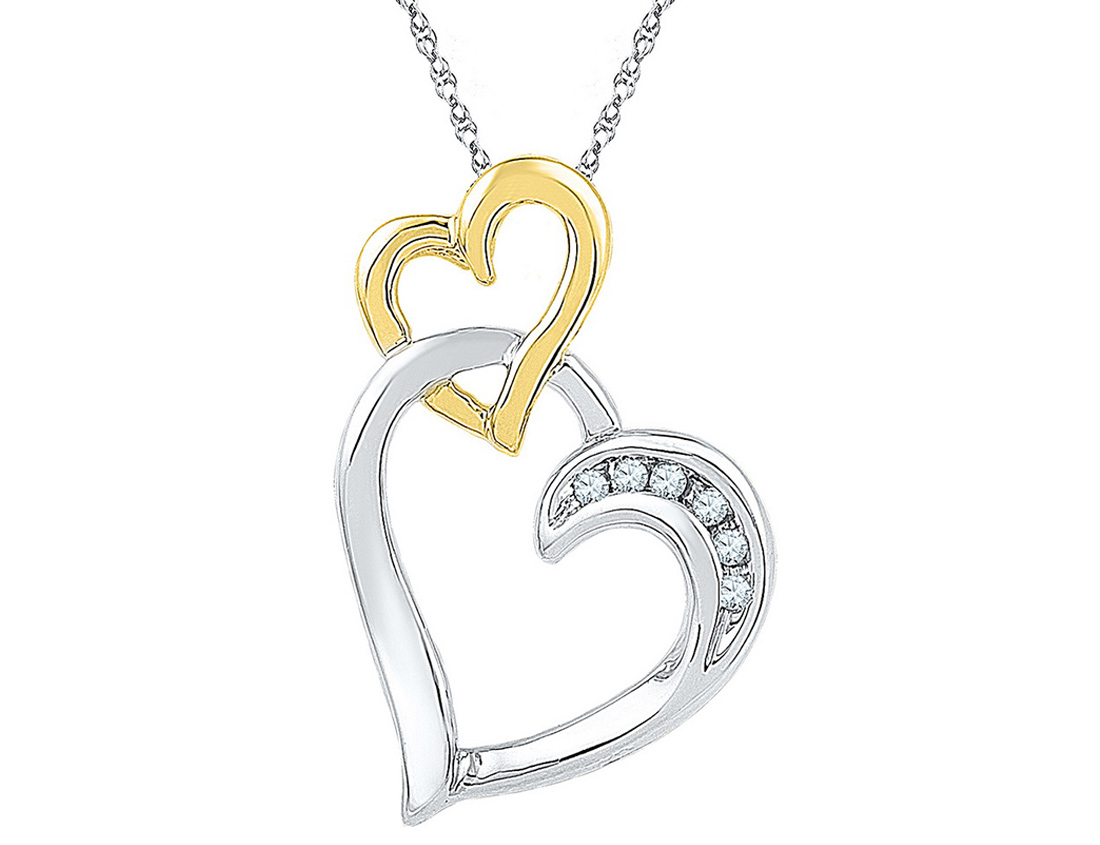 Double Heart Pendant Necklace in Two Tone Sterling Silver with Accent Diamonds