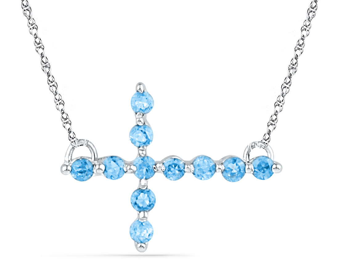 Lab Created Blue Topaz Cross Pendant Necklace 1/5 Carat (ctw) in Sterling Silver with Chain