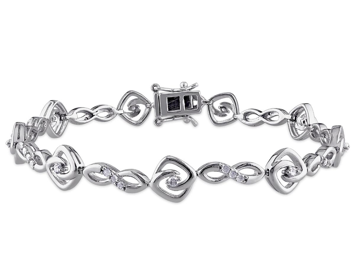 Diamond Infinity Swirl Bracelet 1/2 Carat (ctw) in Sterling Silver