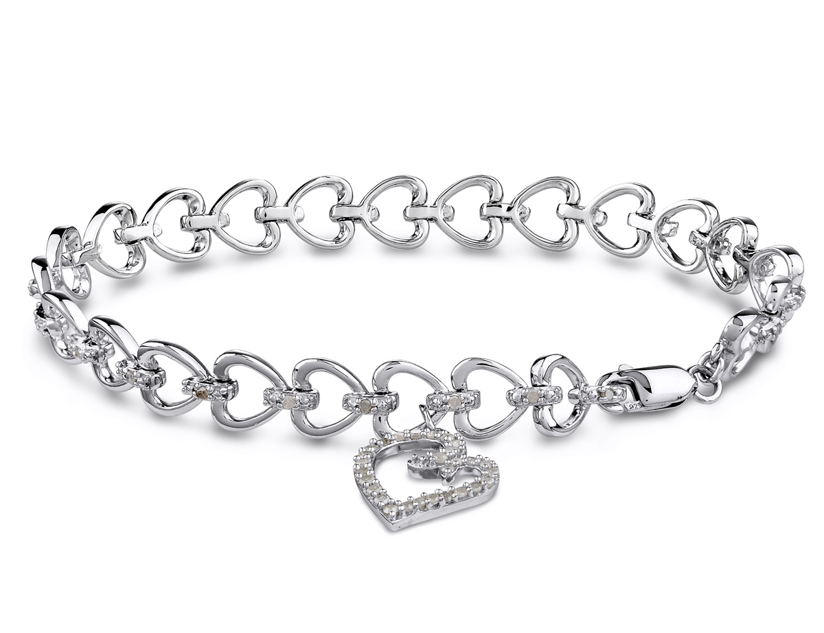 Sterling Silver Heart Charm Bracelet with Diamonds 1/2 Carat (ctw)