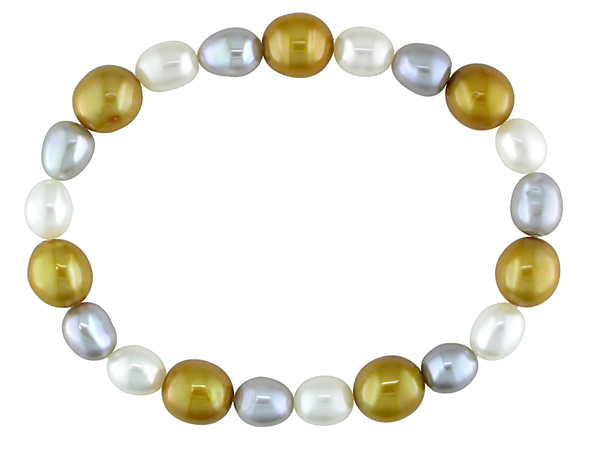 This charming bracelet from the  features 6-7mm freshwater rice white and grey pearls with 8-9mm gold off-round pearls. The fantastic bracelet offers an elastic band and easy slip-on styling.