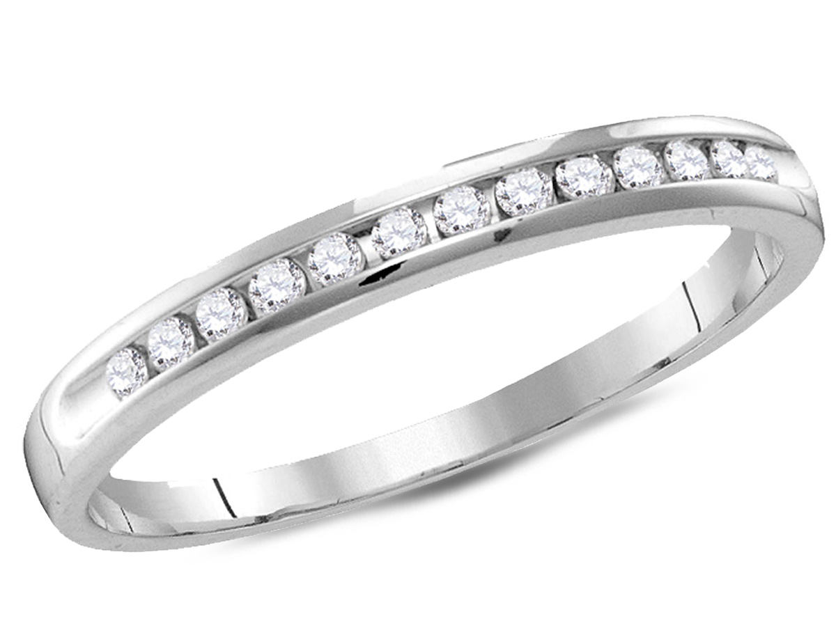 Beautiful sparkling round brilliant diamonds 1/2 carat (ctw) are channel set between crisp 14 karat white gold bringing this affordable wedding anniversary band to life.