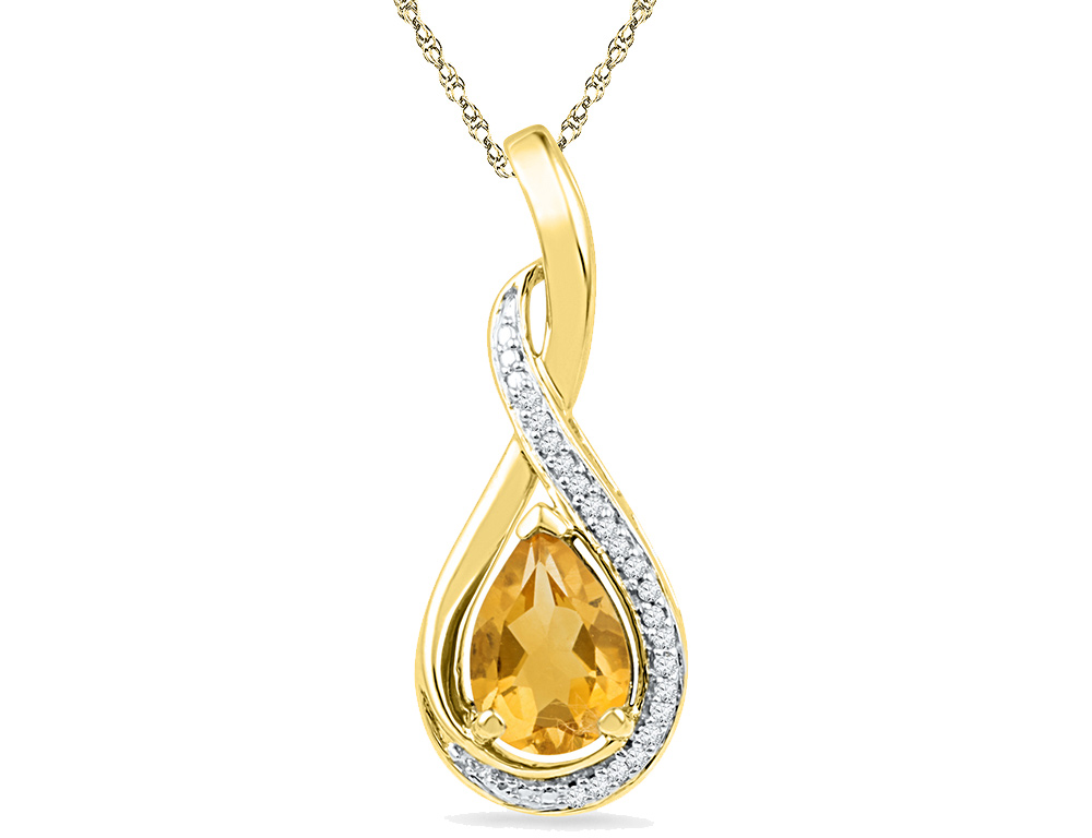 Lab Created Citrine 1.00 Carat (ctw) Drop Infinity Pendant Necklace in 10K Yellow Gold with Chain and Accent Diamonds