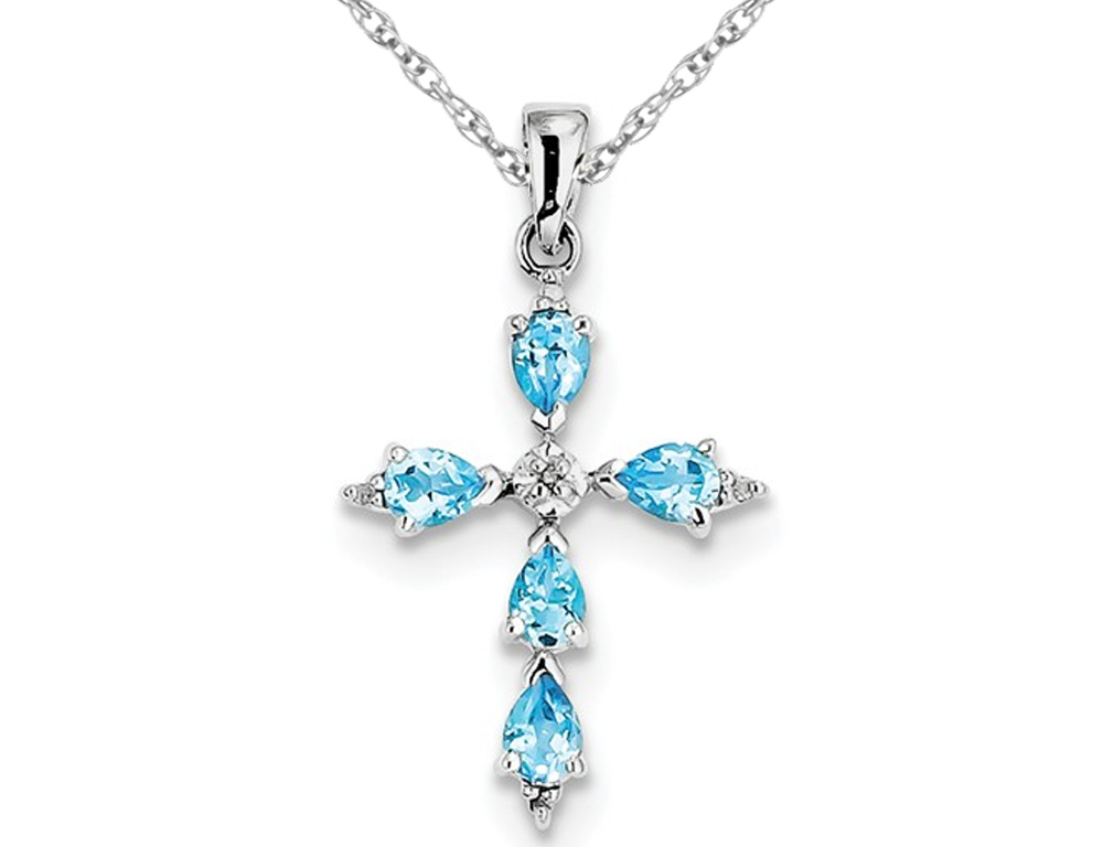 Swiss Blue Topaz Cross Pendant Necklace 4/5 Carat (ctw) in Sterling Silver with Chain