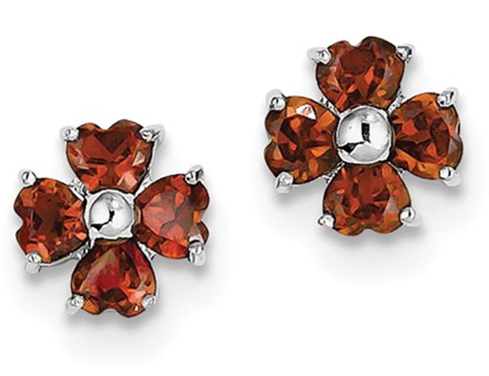 Sterling Silver Rhodium Plated Flower Garnet Earrings (2.00 Carat ctw)