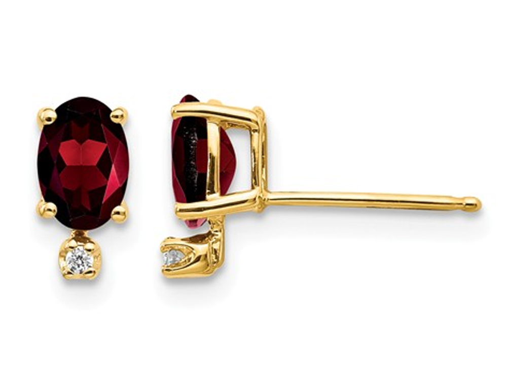 14K Yellow Gold Natural Garnet Post Earrings 1.20 Carat (ctw) with Diamond Accents