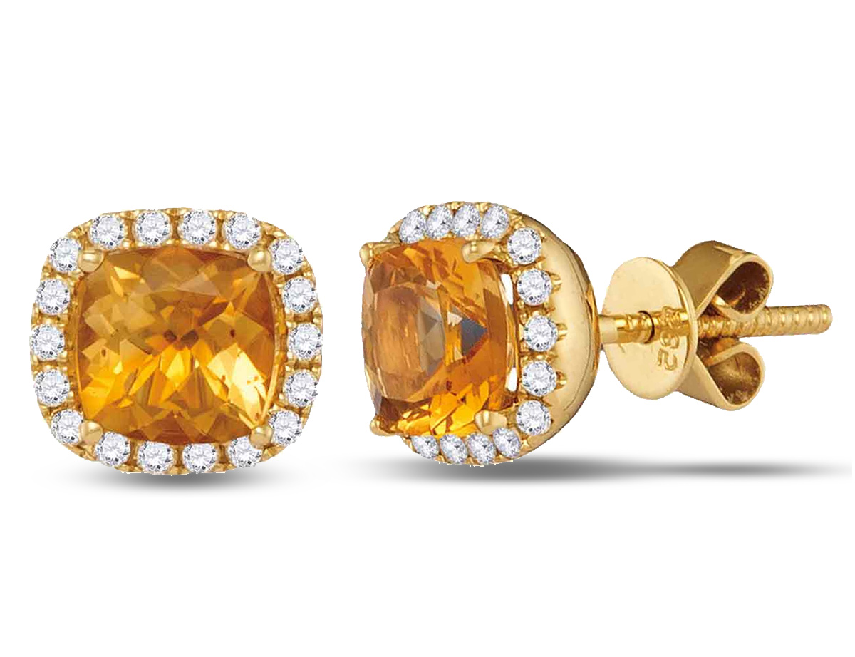 1.75 Carat (ctw) Princess Cut Natural Citrine Earrings in 14K Yellow Gold with Diamonds
