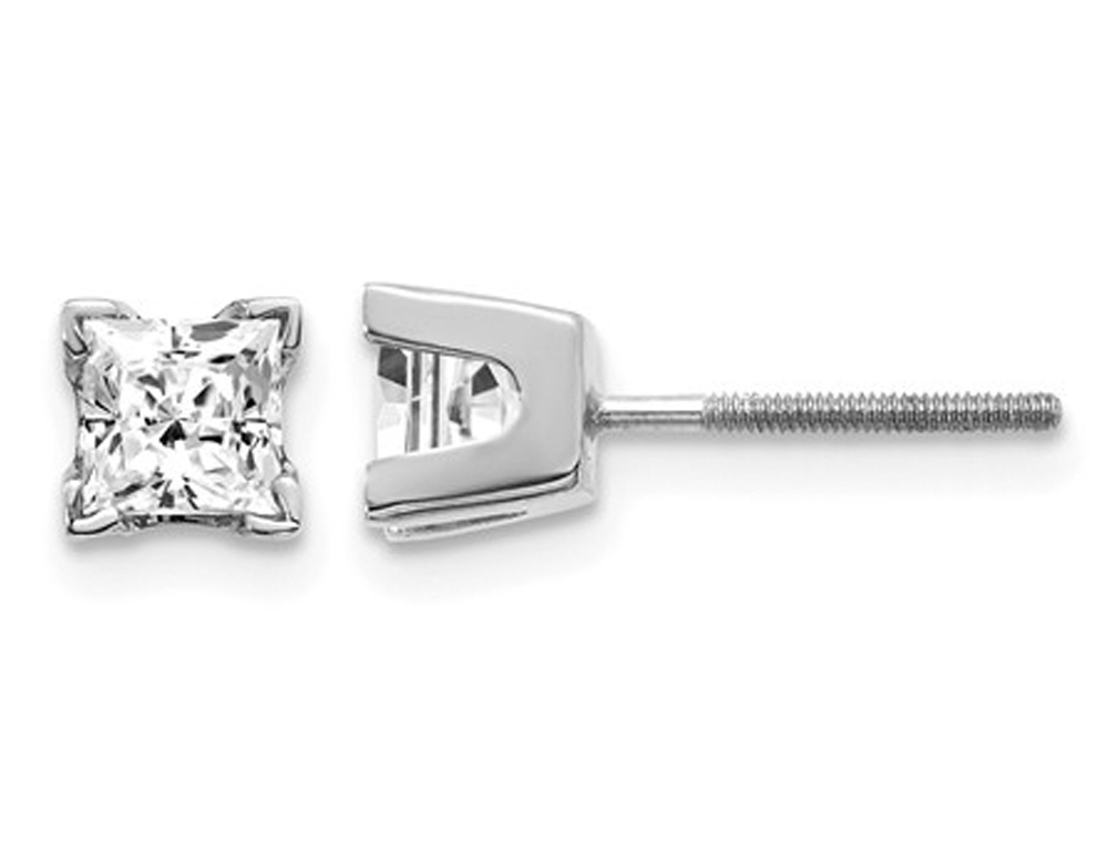 Striking polished 14 karat white gold screw back solitaire earrings featuring 0.80 carats of princess cut diamonds total weight, clarity- SI2-I1 , Color G-H-I.