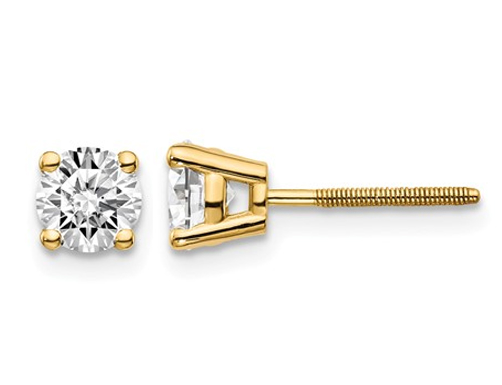 Shimmering polished 14 karat yellow gold screw back solitaire earrings featuring 0.80 carats of brilliant round cut diamonds, clarity- VS2-SI1 , Color G-H-I.