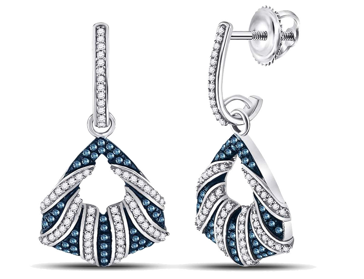 Beautiful color enhanced blue brilliant cut diamonds are featured in these J-Hoop dangle earrings which offer both style and elegance. Crafted from 10 karat polished white gold to form a subtle frame to the 200+ sparkling round blue and white diamonds that make up these exquisite stud earrings with screwbacks.