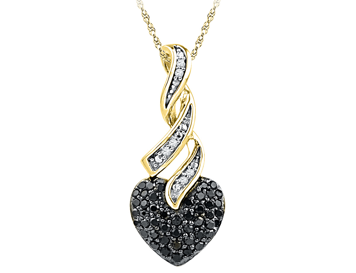 1/3 Carat (ctw Clarity I2-I3) Black and White Diamond Heart Pendant Necklace in 10K Yellow Gold with Chain