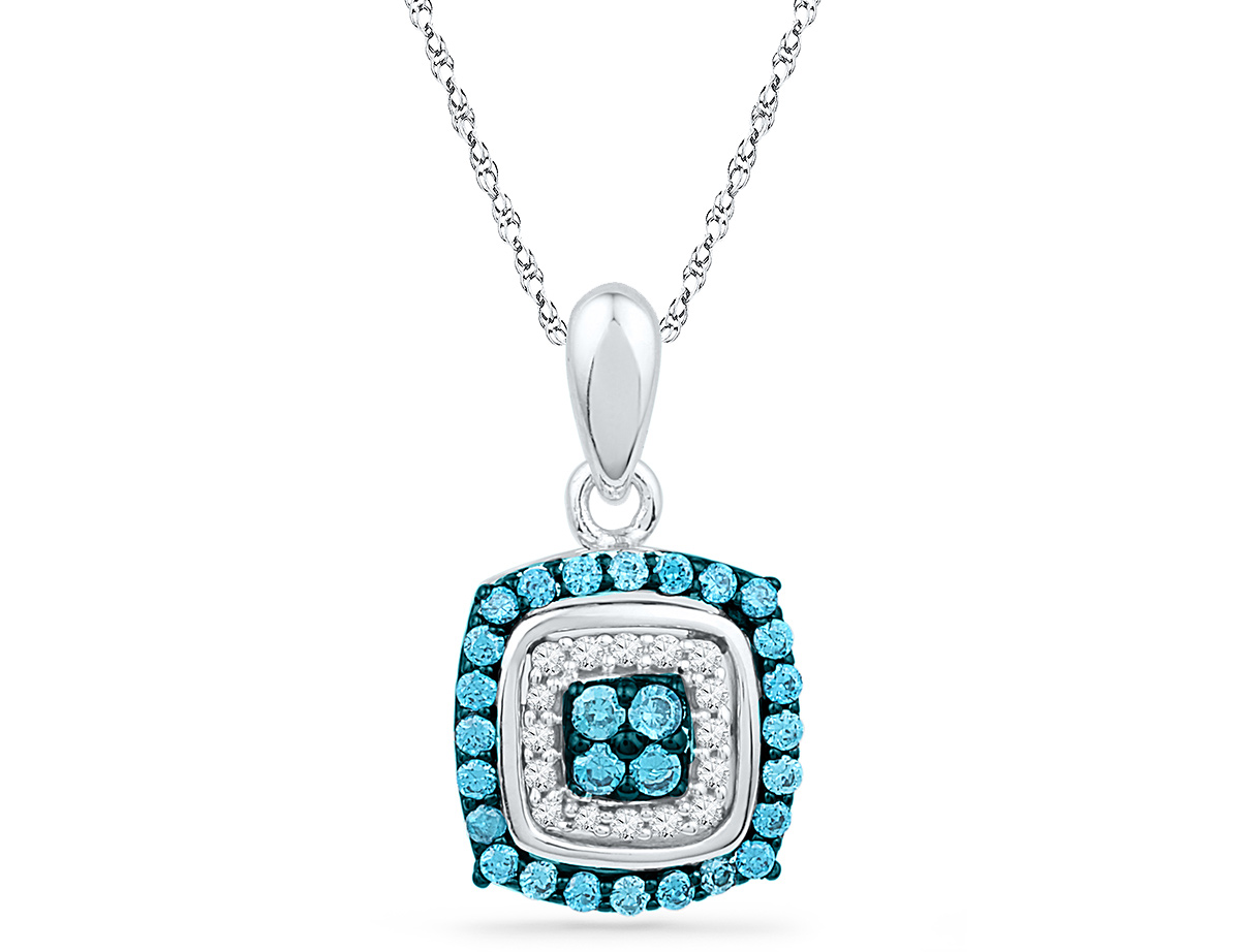 1/3 Carat (ctw) White and Blue Diamond Pendant Necklace in 10K White Gold with Chain