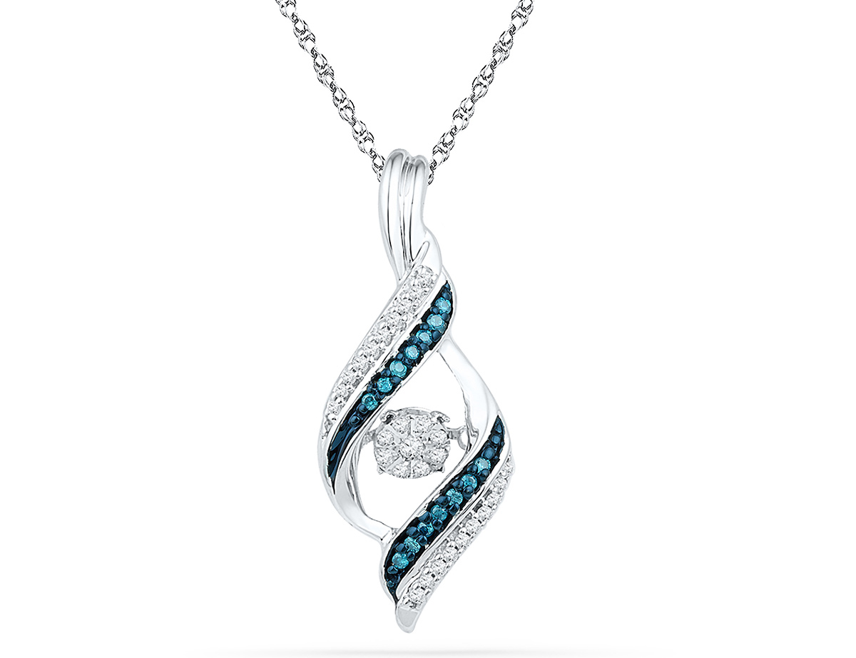 1/8 Carat (ctw) White and Blue Diamond Pendant Necklace in 10K White Gold with Chain