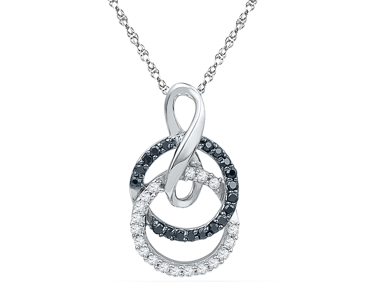1/5 Carat (ctw J-K, I2-I3) Black and White Diamond Circle Pendant Necklace in 10K White Gold with Chain