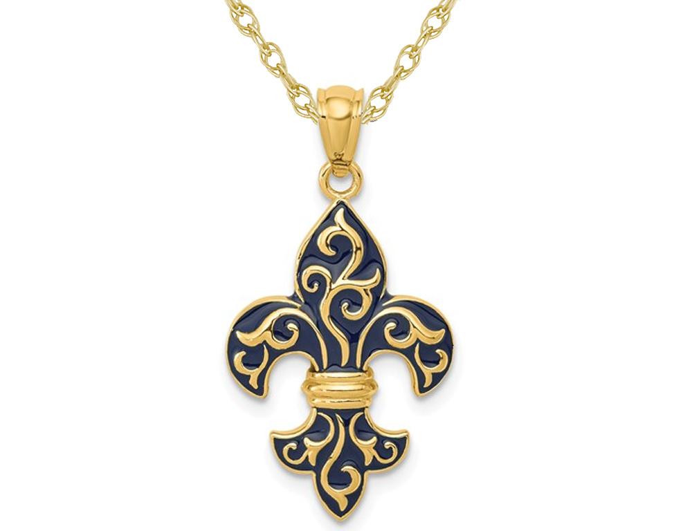 14K Yellow Gold Black Enamel Fleur De Lis Pendant Necklace with Chain