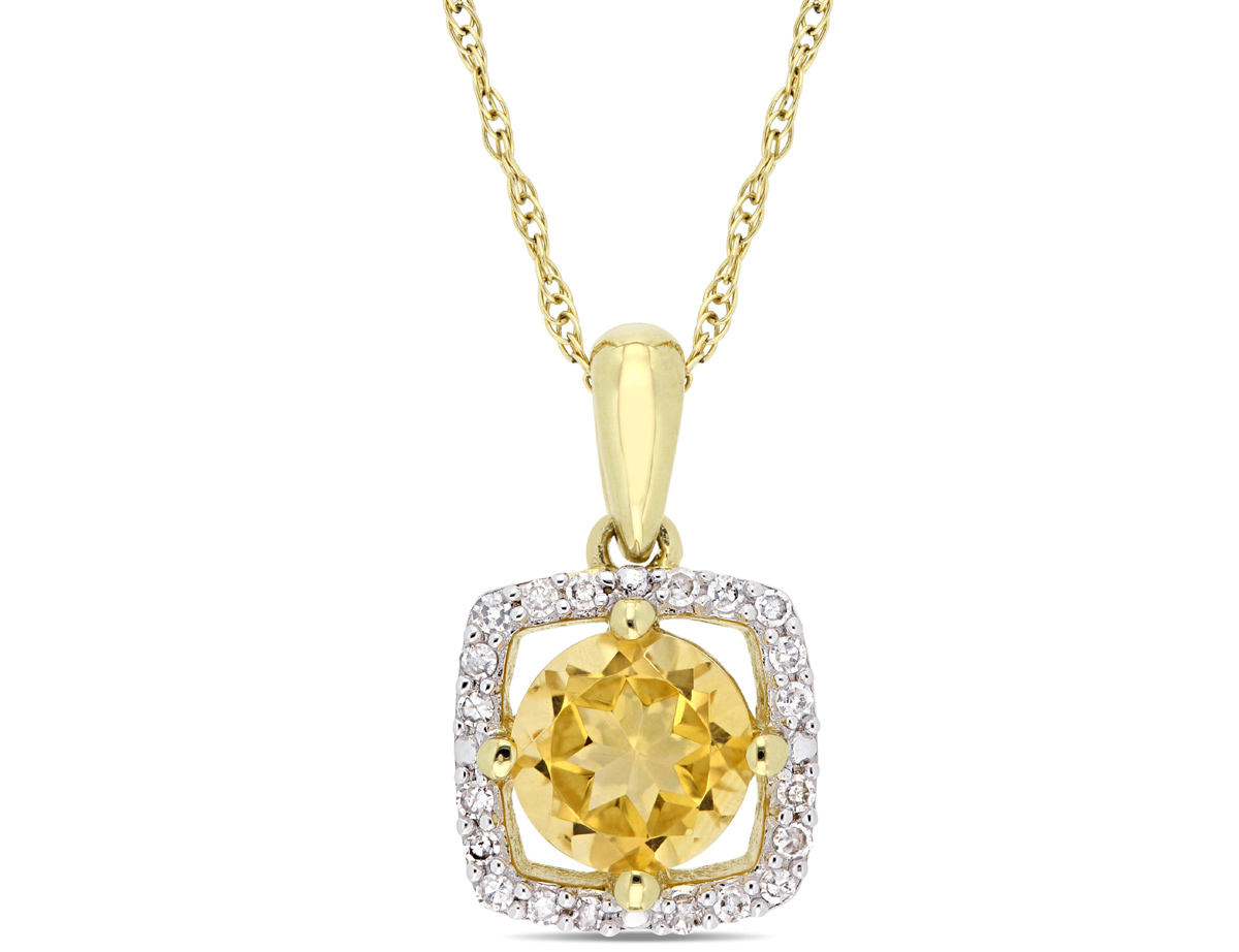 Natural 3/4 Carat (ctw) Citrine Pendant Necklace in 10K Yellow Gold with Chain and Diamonds 1/10 Carat (ctw I2-I3)