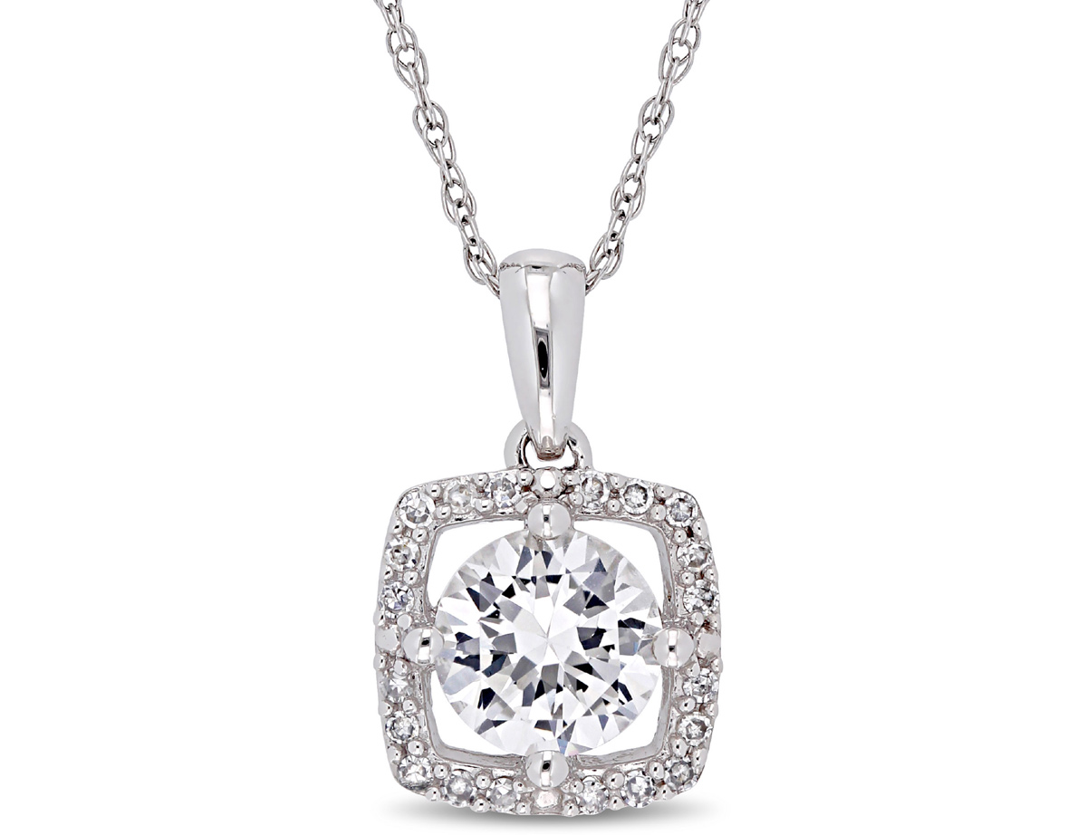 1.00 Carat (ctw) Lab Created White Sapphire Solitaire Pendant Necklace in 10K White Gold with Chain and Diamonds 1/10 C