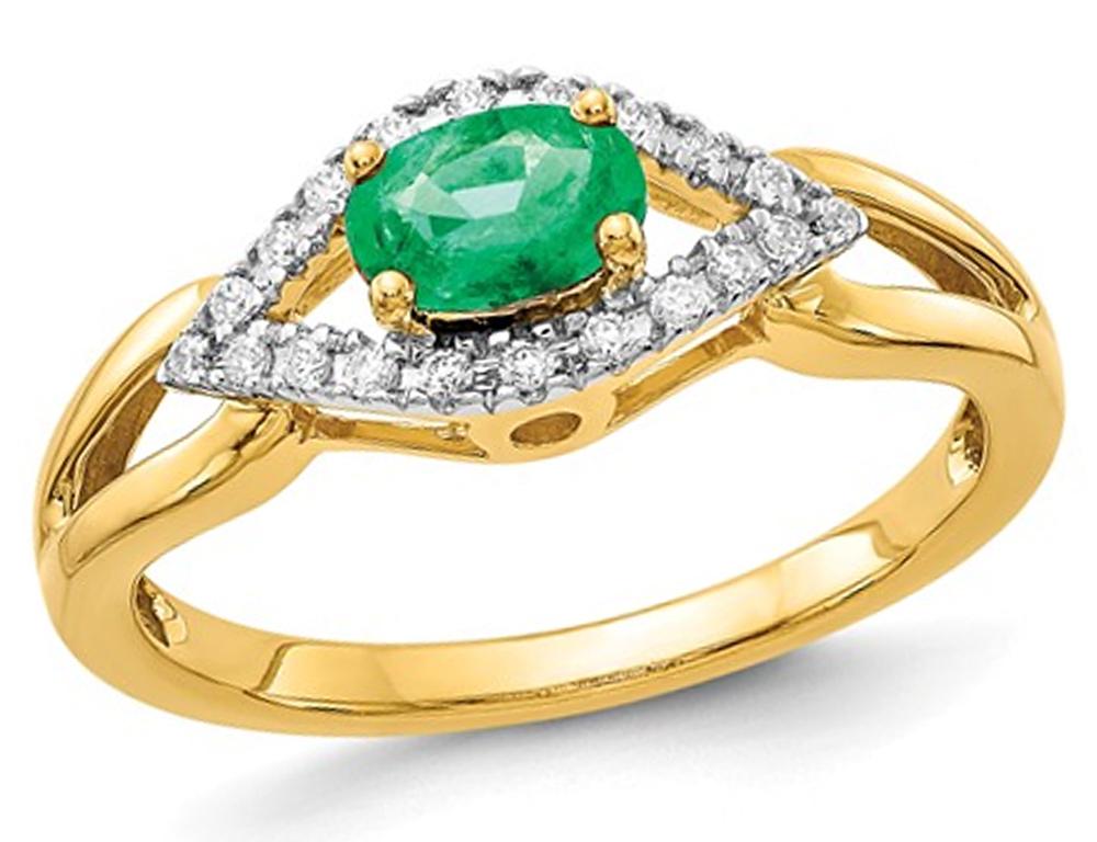 2/5 Carat (ctw) Natural Emerald Ring in 14K Yellow Gold with Diamonds 1/10 Carat (ctw)