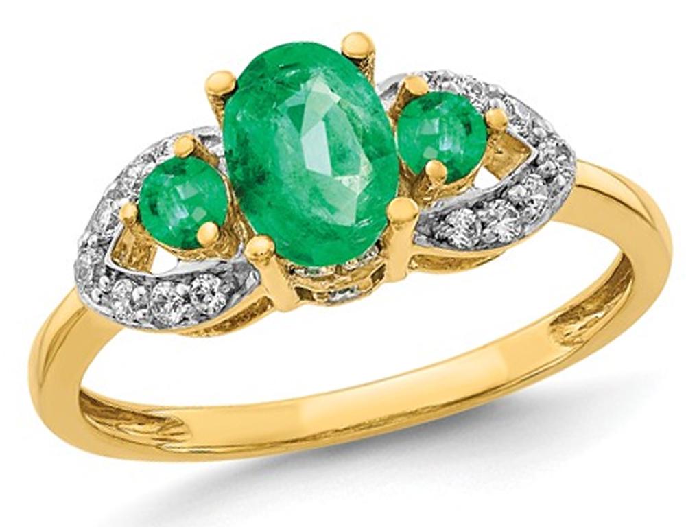 9/10 Carat (ctw) Natural Emerald Ring in 14K Yellow Gold with Diamonds 1/7 Carat (ctw)