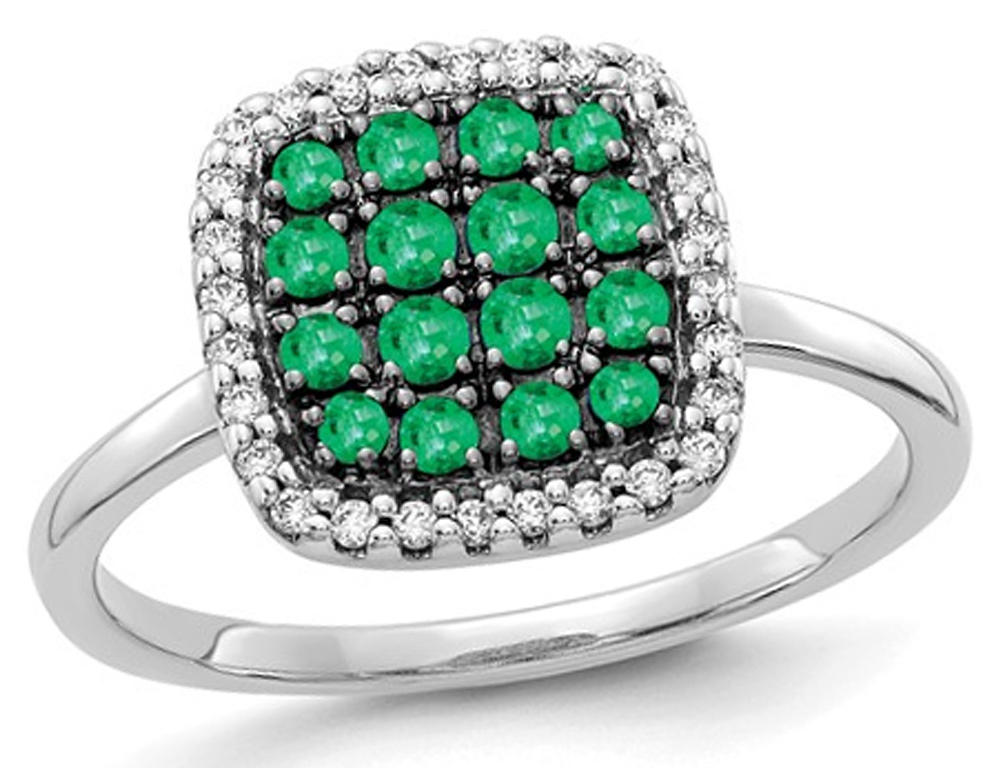 2/5 Carat (ctw) Natural Emerald Cluster Ring in 14K White Gold with Diamonds 1/8 Carat (ctw)
