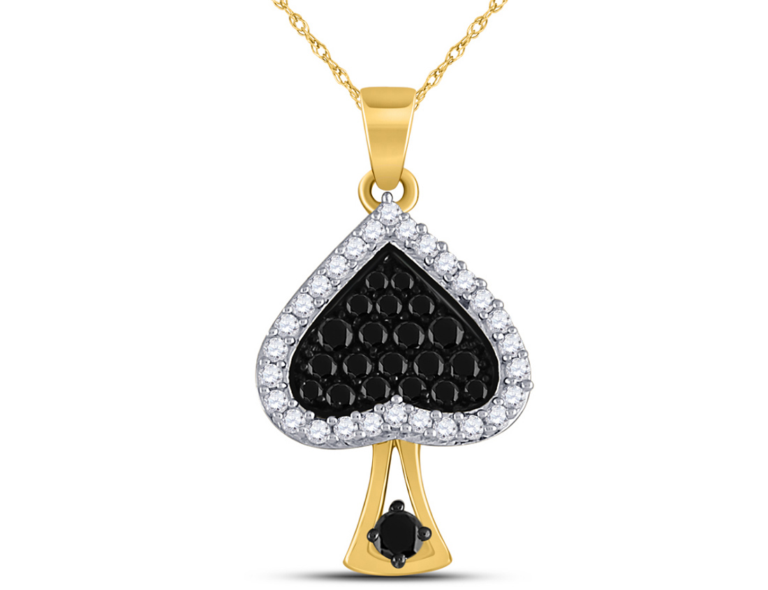 1/2 Carat (ctw Clarity I2-I3) Black and White Diamond Spade Charm Pendant Necklace in 10K Yellow Gold with Chain