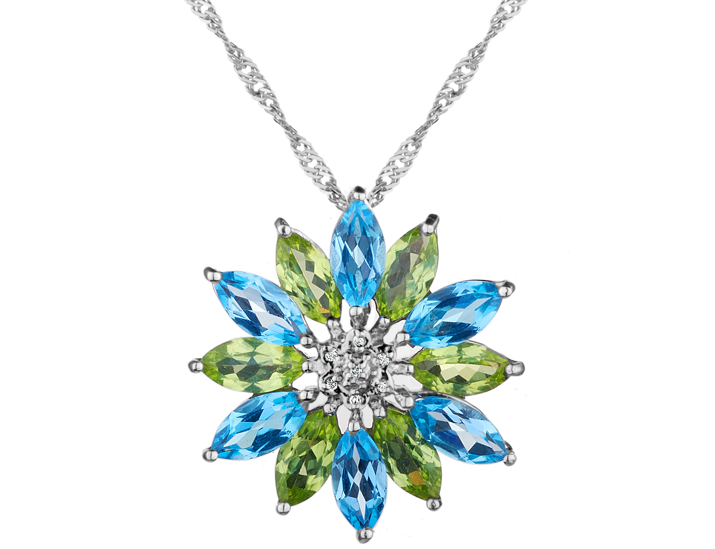 Blue Topaz and Peridot Flower (7.0 Carat ctw) Pendant Necklace with Diamonds in Sterling Silver