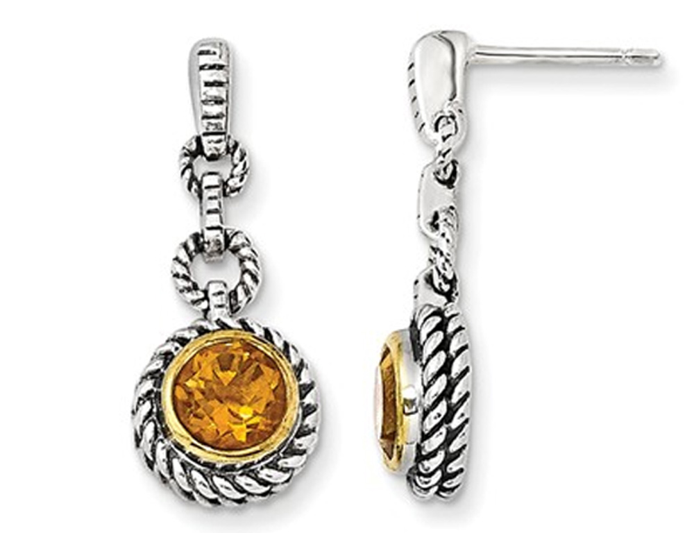 Yellow Citrine Gemstone 1.50 Carat (ctw) Drop Earrings in Sterling Silver with 14K Gold Accents