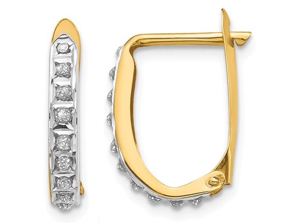 14K Yellow Gold Leverback Hoop Earrings with Accent Diamonds (1/2 Inch)