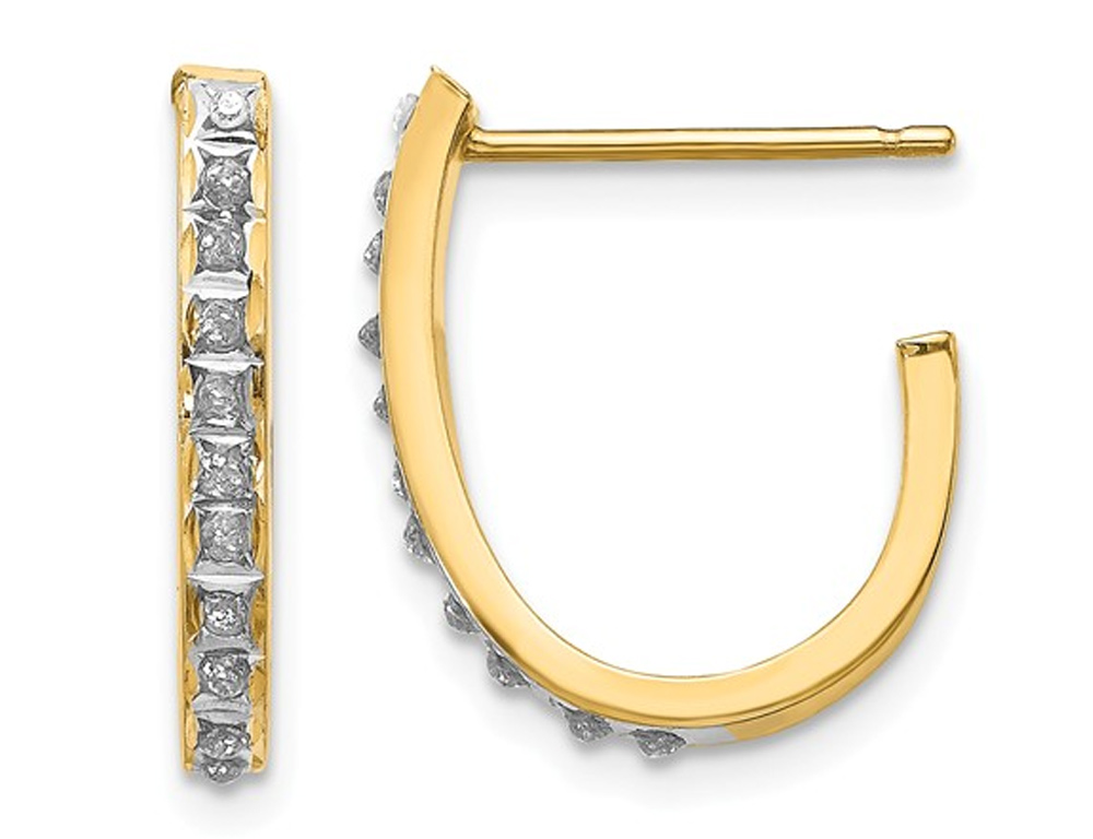 J Hoop Earrings in 14K Yellow Gold with Diamond Accents