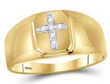 Mens Diamond Cross Ring 1/20 Carat (ctw) in 10K Yellow Gold
