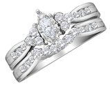Diamond Marquise Engagement Ring & Wedding Band Set 1/2 Carat (ctw) in 14K White Gold