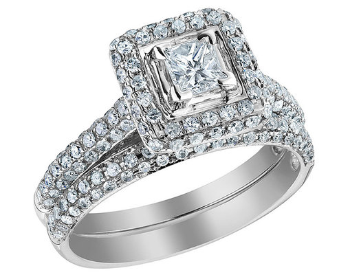 1.25 Carat (ctw H-I, I1-I2) Princess Cut Diamond Engagement Ring & Wedding Band Set in 14K White Gold